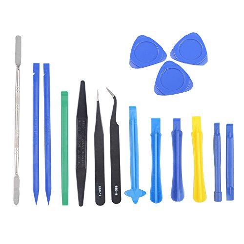16 in 1 Professional Safe Opening Pry Tool Repair Kit with Non-Abrasive Nylon Spudgers and Pack of 2 Anti-Static Tweezers,16 Pcs Included.