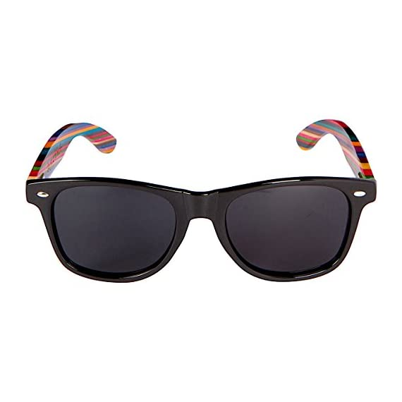 Woodies Rainbow Wood Sunglasses with Black Polarized Lenses 2 Handmade from Rainbow Wood (50% Lighter than Ray-Bans) Includes FREE Carrying Case, Lens Cloth, and Wood Guitar Pick Polarized Lenses Provide 100% UVA/UVB Protection