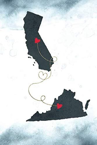 California & Virginia: Long Distance Out of State Notebook - Blank Lines (Together Forever Never Apart US States Journals)