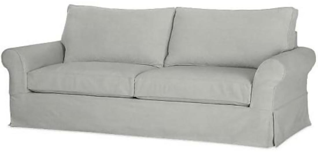"""The Cotton Sofa Cover Only ( Width: 81""""~ 83.5"""", Not 92"""" ! ) Fits Pottery Barn PB Comfort Roll ARM Sofa ( Not Grand Sofa). A Durable Slipcover Replacement (Light Gray (Box Edge))"""
