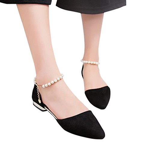 Women Flats Sandals Shoes Low Heel Bead Wedge Sandals Slippers Pointed Toe Flats Hemlock (US:8, Black)