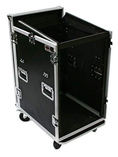 OSP Cases | ATA Road Case | 16-Space Amplifier Rack with 12-Space Mixer Slant | Standing Lid Table | MC12U-16SL by OSP
