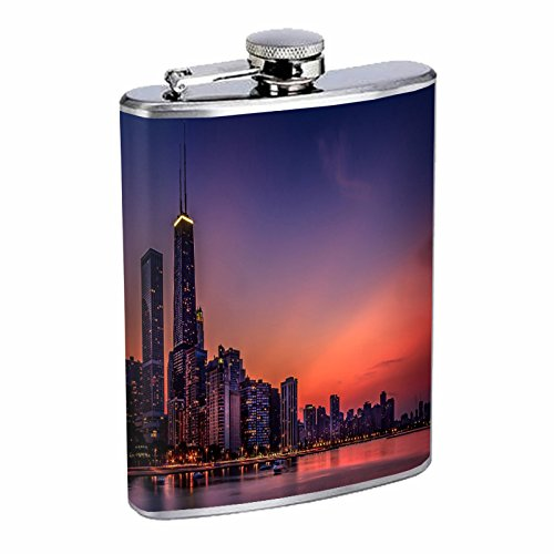 Chicago City Skyline Flask S6 Stainless Steel 8oz Hip Silver Alcohol Whiskey Drinking Brandy Rum ()