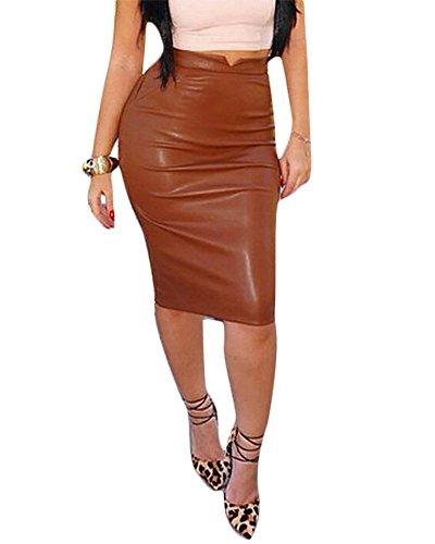 Minetom Femmes Sexy Vintage Taille Haute Midi Jupe En Cuir PU Elastique Moulante Bodycon OL Crayon Skirt Clubwear Caf