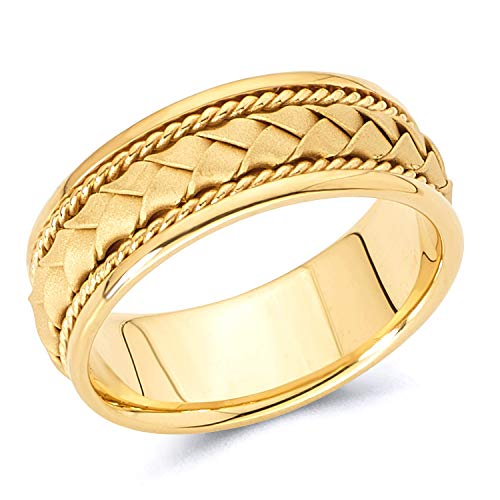 - Wellingsale 14k Yellow Gold Polished Satin 8MM Handmade Braided Rope Comfort Fit Wedding Band Ring - size 10