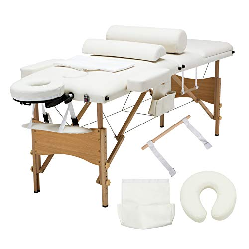 ge Table 84'' Professional Massage Bed 3 Fold With Additional Accessories,White ()