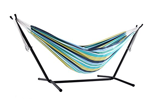 Vivere Double Cotton Combo Hammock with Stand, Cayo - Backyard Swing