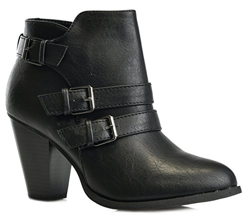 Titan Mall Forever Women's Buckle Strap Block Heel Ankle Booties, Black - Shoe Mall Fashion