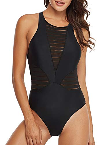 One Piece Swimsuit Mesh Bathing Suit for Women High Neck Backless Monokini Swimwear(Black,M)