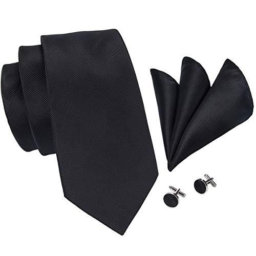 Hi-Tie Mens Black Solid Tie Handkerchief Cufflinks set Woven silk Wedding Tie