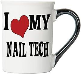 Tumbleweed - I Love My Nail Tech - Large 18 Ounce Ceramic White Coffee Mug - Nail Tech Gifts