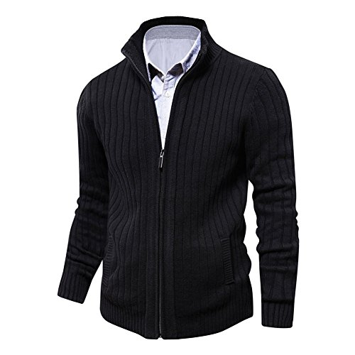 Aoli Ray Mens Knitted Slim Fit Cardigan Sweater Stand Collar Zip-up with 2 Side Pockets (Black, XS)