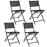 Giantex Set of 4 Outdoor Patio Folding Chairs Camping Deck Garden Pool Beach Furniture (Black) Review