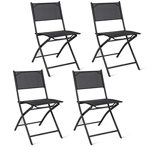 Giantex 4 Pack Patio Folding Chairs Portable For Outdoor
