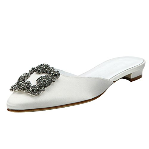 Mavirs Mule Slippers for Women, Womens Satin Rhinestones Flat Sandals Pointed Toe Jeweled Embellishment Slides Sandals White-satin