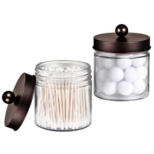 Bathroom Vanity Glass Storage Organizer Holder Canister Apothecary Jars for Cotton Swabs, Rounds, Balls, Qtips,Makeup Sponges, Flossers,Bath Salts - 2 Pack, Clear (Bronze)