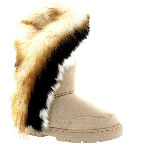 Holly Womens Tall Tassel Winter Cold Weather Snow Rain Boots Beige MGaAvd818