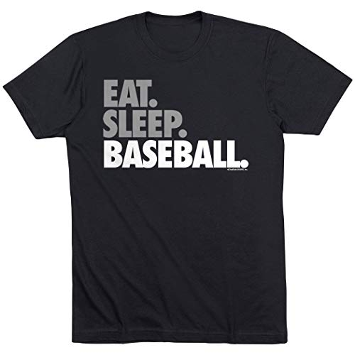 Eat Sleep Baseball T-Shirt | Baseball Tees by ChalkTalk SPORTS | Black | Youth Large