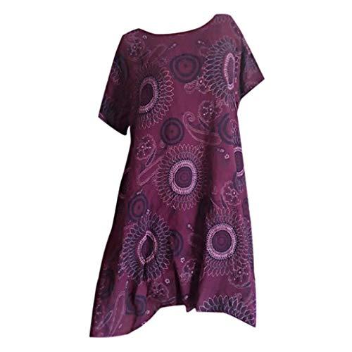 CCOOfhhc Women's Summer Short Sleeve Dress Bohemian Geometric Pattern Tunic Swing Loose Irregular T-Shirt Dress Purple (Marken Günstig Online)
