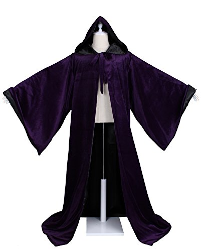 LuckyMjmy Velvet Wizard Robe with Satin Lined Hood and Sleeves (Purple-Black) -