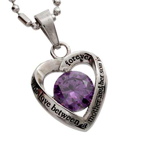 R.H. Jewelry Stainless Steel Mother's Purple Crystal Heart Pendant Necklace