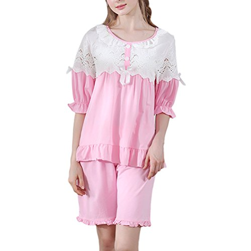 Zhhlaixing Summer Womens Comfortable Cotton Pajama Set Girls Cute Lace Sleepwear Nightgown Rose Red