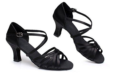 YOGLY de Adulta Zapatos Tango de Zapatos Baile Salsa 5cm 5 de Tacón de Danza Estándar Zapatos Tacon Latino Mujer Baile de Negro Salón Medio ZrwZT5qn6O