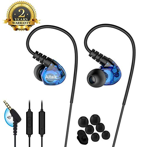 Sports Earbuds, Ear Pods Running Fitness Wired Headphones over ear Workout Earbuds with Microphone Jogging Gym Exercise Earphones for Phones working out. (BLUE)