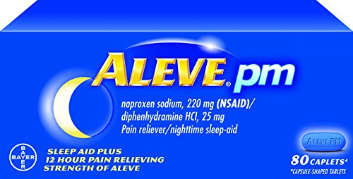 Aleve PM Caplets with Naproxen Sodium, 220mg (NSAID) Pain Reliever/Fever Reducer/Sleep Aid, 80 Count (Caplets 220)