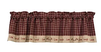 Sturbridge Live Laugh Love Lined Window Valance Caf Curtain Wine Red Tan Plaid Country Primitive