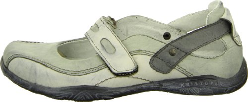 Kristofer 2019 Damenschuh Sandale Sandalette Leder Ballerina Riemenverschluss Klett Farbe: Creme/ Grau