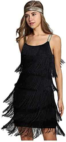 L'VOW Women' 1920s Tassels Straps Dress Gatsby Cocktail Party Fringed Costume Flapper Dresses with Headband