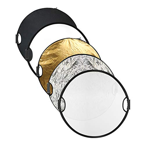 """Issuntex 43""""/110cm 5-in-1(Translucent, Silver, Gold, White and Black) Handle Collapsible Multi-Disc Photography Lighting Reflector with carring case."""