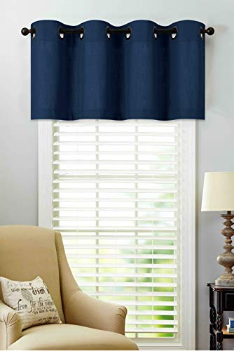 Regal Home Collections Luxurious Oversized Grommet Top Window Valance, Assorted Colors, (Navy)