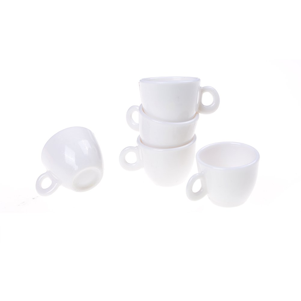 5 Pcs Tea Coffee Set Kids Kitchen Play Set Tableware Toys for Miniature 1:12 Dollhouse Accessories 4U-Lucky
