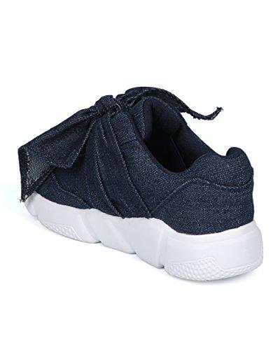 Alrisco Femmes Noeud Papillon Sneaker - Ruban Jogger Sneaker - Gym Dentraînement Courant Athlétique Mode Trendy Sneaker - Hc59 Forever Collection Blue Denim