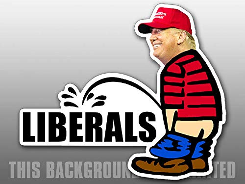 MAGNET 3x5 inch Trump Pissing LIBERALS Shaped Sticker - funny peeing political pro Magnetic vinyl bumper sticker sticks to any metal fridge, car, signs