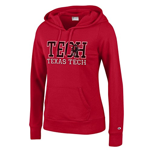 Champion NCAA Women's Comfy Fitted Sweatshirt University Fleece Hoodie Texas Tech Red Raiders Large