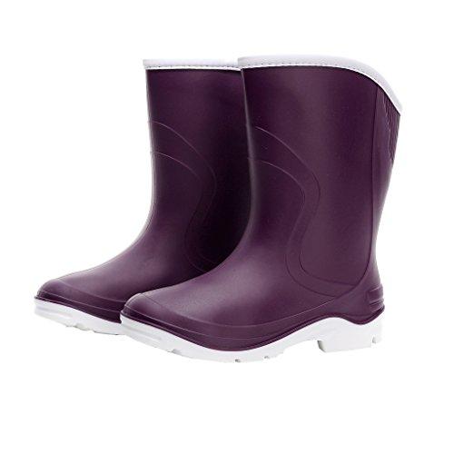 Kontai Women Half Calf Ankle Rubber Rainboots 2 Color Waterproof Boots for Garden Rain Round Toe Rainboots Size 7 Purple