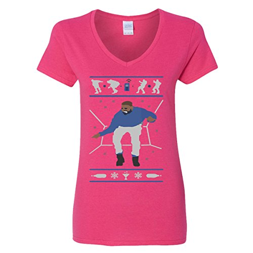 Hotline Bling Drake Popular Falcon's V-Neck T-Shirts for Women (Heliconia, Large) ()