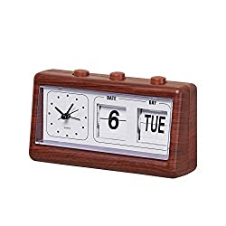 Collections Etc Faux Wood Classic Analog Alarm Clock with Calendar with Easy-to-Read Display - Lightweight and Portable