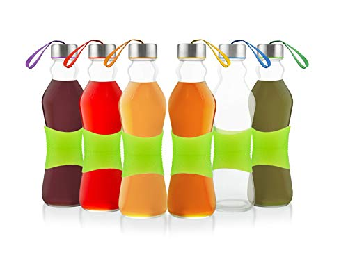 Glèur Reusable Glass Beverage Bottles, with A Green Strip of Silicone for Easy Grip, and A Stainless Steel Airtight Cap, with Different Colored Carrying Loop, 17-Oz Set of 6