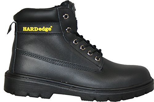 """6"""" Eyelet Leather Safety Boots, Black/Brown, Steel Toe Cap, Steel Mid Sole, S3 Black"""