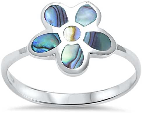 Sterling Silver Abalone Shell Flower Ring Sizes 5-10