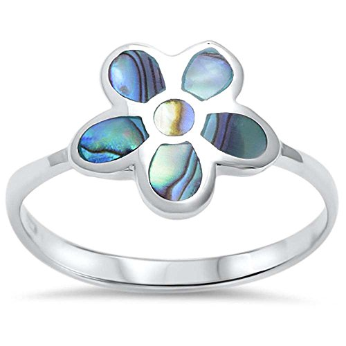 Sterling Silver Abalone Shell Flower Ring Sizes 7
