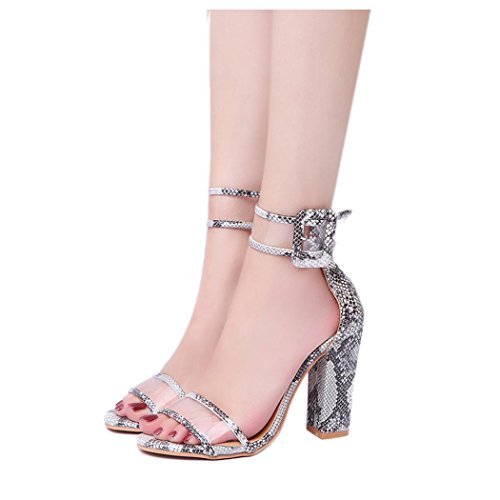 Inkach Womens Platform Sandals - Ladies Summer Open Toe Sandals High-Heeled Ankle Wrap Buckle Shoes Brown Uibzf