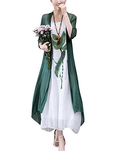 HÖTER Women's Oriental Beauty Folk Style Irregular Maxi Painting Cotton Linen Casual Two Piece Suit Loose Dress DarkGreen