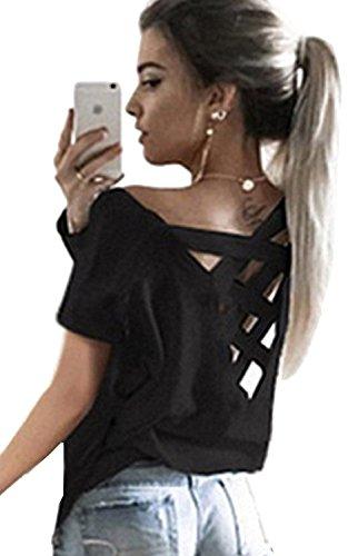 Back Womens Light T-shirt (Women's Summer Sexy Criss Cross Open Backless Yoga Top Tee Short Sleeve T Shirt Casual Sport Blouse Tops (XL, Black))