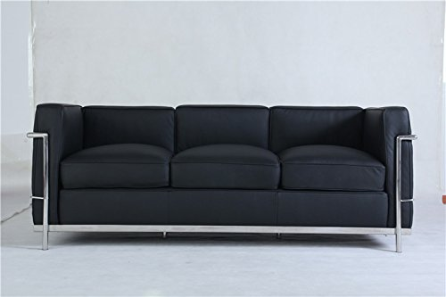 Krafteriors - Corbusier Leather 3 Seater Couch, Couch, Black, Set of - Corbusier Le Sofa Leather