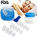 Anti Snoring Device for Sleep, Snore Stopper Mouthpiece Prevent Snoring & Teeth Grinding (bruxism) Mouth Guard Device, Nose Vents Plugs - Stop Snore Сlip Mute Nasal Dilators Sleep Аid, Set of 14